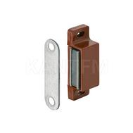 Магнитный замок с перемещаемым корпусом для деревянных дверей, сила сцепления 3-4 кг, высота 46 мм (пластик, цвет коричневый)