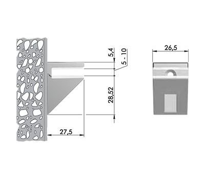 KALABRONE MINI Менсолодержатель для стеклянных полок 5 - 10 мм, нерж. сталь