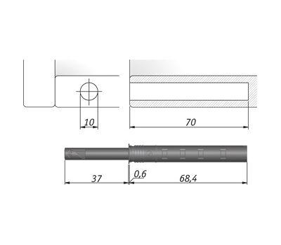 K-PUSH TECH усиленный 37 мм врезной с магнитом, антрацит