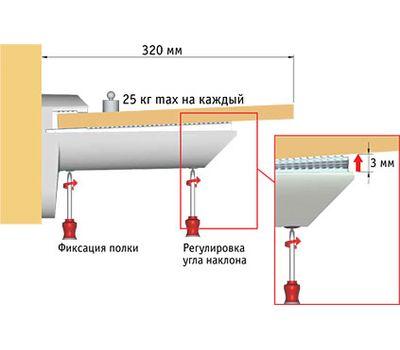 KAIMAN Менсолодержатель для деревянных и стеклянных полок 7 - 41 мм, нерж. сталь (2 шт.)
