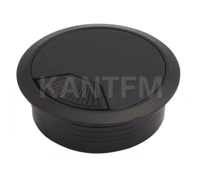 Заглушка кабель-канала, пластиковая, круглая, d=60 мм, черная