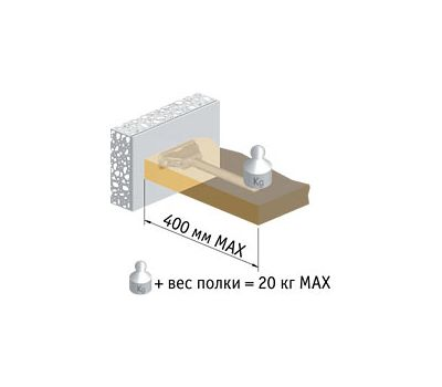TRIADE XXL Скрытый менсолодержатель для деревянных полок и полок из тамбурата толщиной от 40 мм