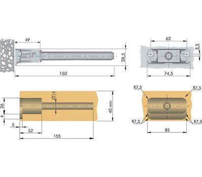 TRIADE MAXI Скрытый менсолодержатель для деревянных полок толщиной от 40 мм
