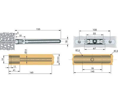 TRIADE MINI Скрытый менсолодержатель для деревянных полок толщиной от 25 мм