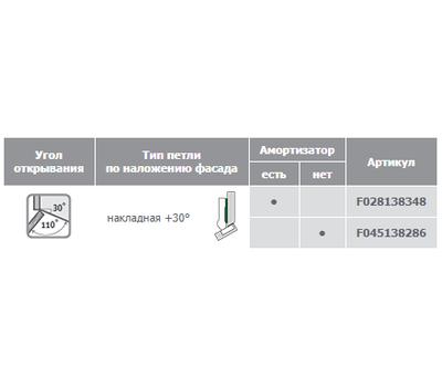 Петля TIOMOS со встроенным амортизатором угловая (+30/110E) накладная
