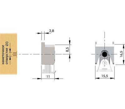 KUBIC Полкодержатель для стеклянных полок толщиной 4-9 мм, со штоком, бронза