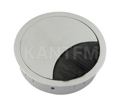 Заглушка кабель-канала, металлическая, круглая, d=80 мм, хром матовый