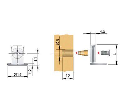 MAORI Опора полкодержателя для деревянных полок толщиной от 16 мм с фиксацией, никель