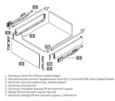 [MSI] Внутренний ящик с рейлингом, плавное закрывание, 500 мм