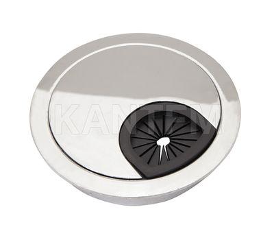 Заглушка кабель-канала, металлическая, круглая, d=80 мм, хром
