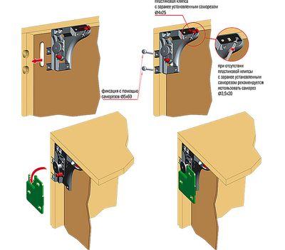 LIBRA H6 Скрытый мебельный навес с креплением на штоки D15, правый