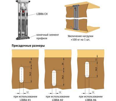 LIBRA CH вертикальный профиль-навес с верхним креплением, 607 мм