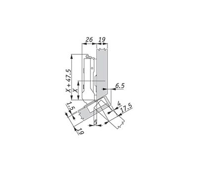 Петля TIOMOS со встроенным амортизатором угловая (+30/110A) накладная (боковина с фаской)