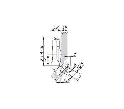 Петля TIOMOS без амортизатора угловая (+45/110A) накладная (боковина с фаской)
