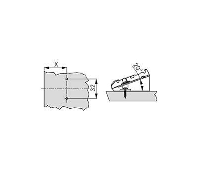 Крестовая ответная планка TIOMOS /саморез+20 грд. (2 мм)