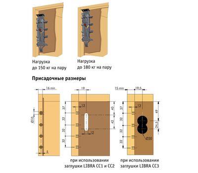 LIBRA H2 Скрытый мебельный навес универсальный с креплением на штоки и фиксатор