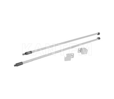 M-TECH комплект круглых рейлингов с фиксаторами, 500 мм, серый металлик