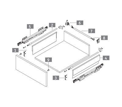 [HSE] Стандартный ящик с наращиванием высоты боковин, tipmatic plus, 500 мм
