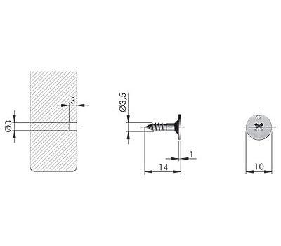 K-PUSH TECH ответная планка-саморез металлическая D10