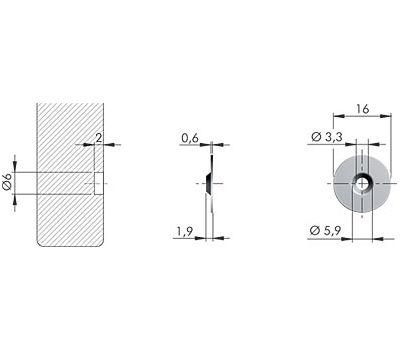 K-PUSH TECH ответная планка круглая под саморез, никель