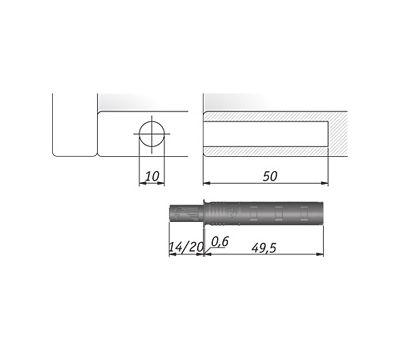 K-PUSH TECH 14 мм врезной с магнитом, антрацит