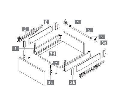 [HSC] Стандартный ящик с наращиванием стеклом, tipmatic plus, 500 мм (без вставок)