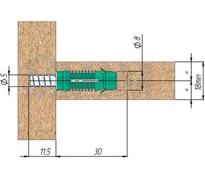 PAD Скрытая стяжка-шкант, неразборная, D9,3 для плит толщиной от 18 мм