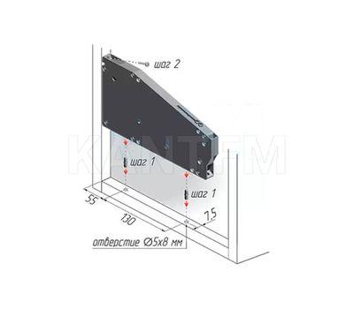 KIARO механизм для открывания фасада, регулируемый, с тросиком (L-600мм), никель