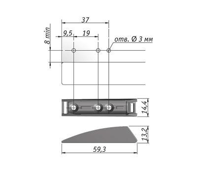 K-PUSH TECH усиленный толкатель накладной 37 мм с магнитом, антрацит