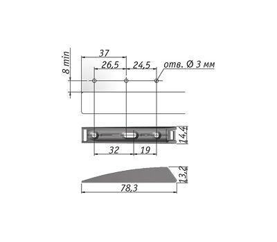 K-PUSH TECH толкатель накладной 37 мм с магнитом, антрацит
