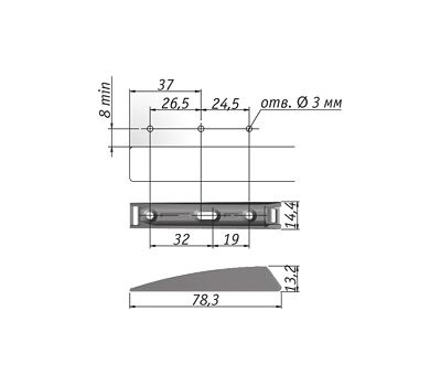 K-PUSH TECH толкатель накладной 37 мм с демпфером, антрацит