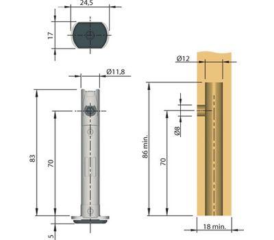 REKORD Опора регулируемая, D12 мм, высота отверстия 70 мм