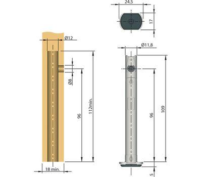 REKORD Опора регулируемая, D12 мм, высота отверстия 96 мм