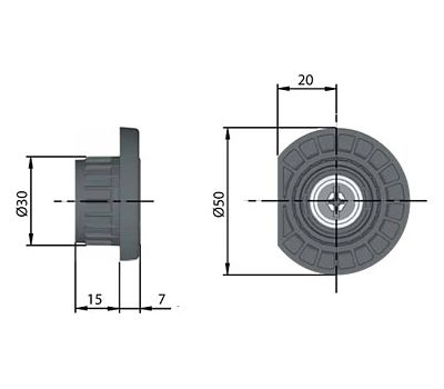 INTEGRATO Z Опора регулируемая, регулировка 10 мм